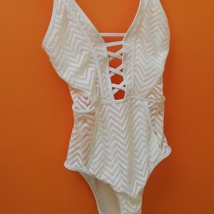 b65ff80f9b New Look Swim - New Look white lace panel swimsuit